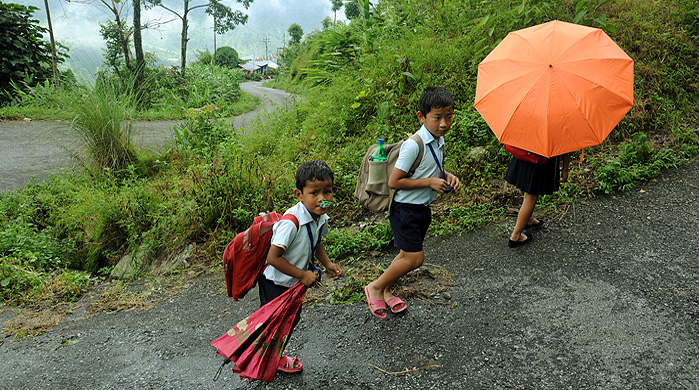 Kids Going to School at Jhandi